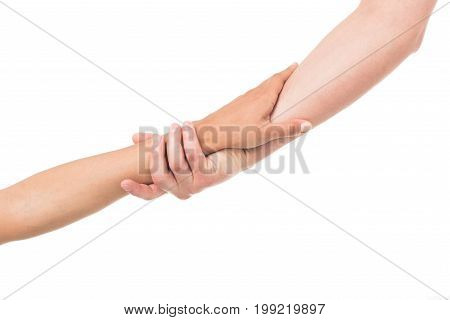 'cropped View Human Hands Holding Each Other, Isolated On White