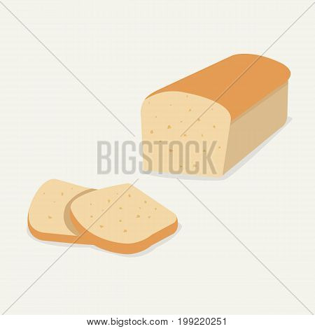 Whole wheat bread vector.Flat Bread loaf and Sliced.Bread for breakfast on soft background