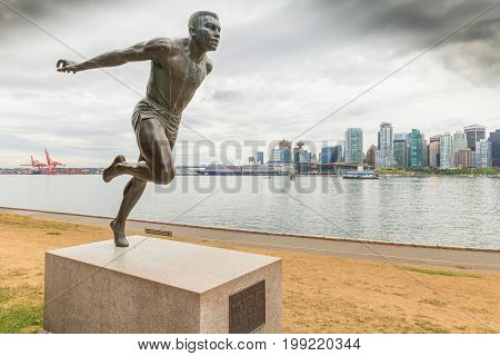 August 2015 Vancouver Canada :Herry Wiston Jerome statue.Born in Prince Albert, Saskatchewan, member of the Oregon University.In 1966 he again tied a world record with a 9.1 time in the 100 yard.