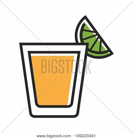 Vector illustration of tequila shot served with lime isolated on white.