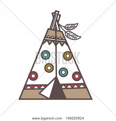 Vector illustration of traditional Indian lodge house decorated with feathers.