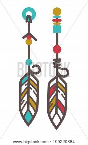 Vector illustration of traditional native Indian earrings decoration isolated on white.