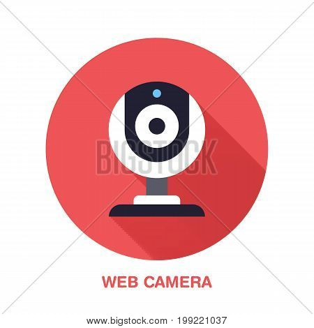 Web camera flat style icon. Wireless technology, video computer device sign. Vector illustration of communication equipment for electronics store.