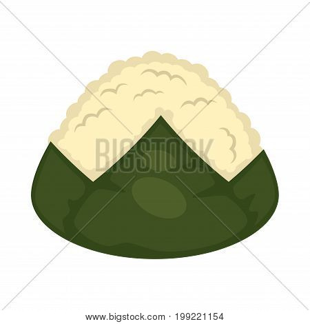Vector illustration of seaweed and rice witout topping isolated on white.
