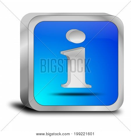 glossy blue Information Button - 3D illustration