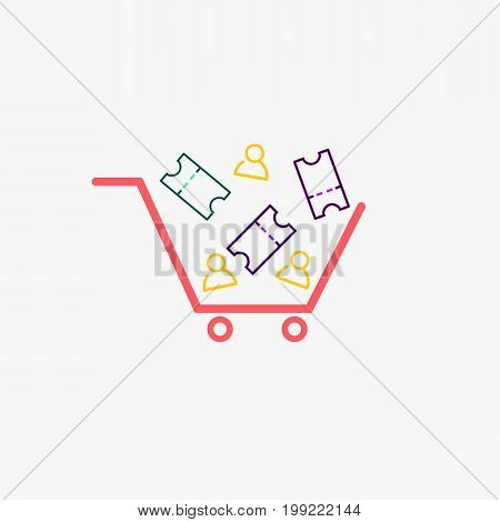 Simple cart with ticket and person icons vector.Cart icons.Shopping and discount concept.