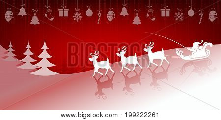 Christmas red background, design with santa claus in cart slowly riding in harness on reindeer