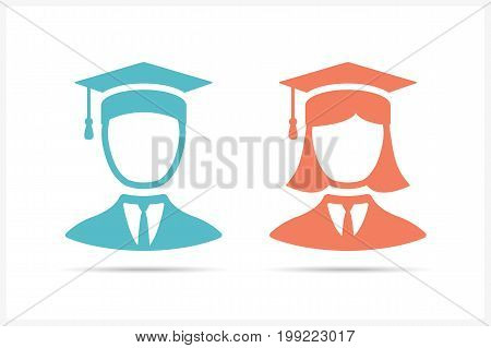 Students icons in graduation cap, man and woman icons, vector eps10 illustration