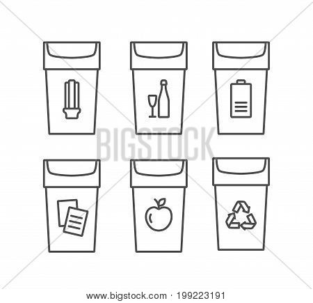 Waste types segregation recycling vector linear icons. Organic, batteries, paper, glass, light bulbs