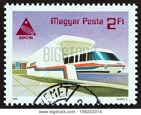 HUNGARY - CIRCA 1985: A stamp printed in Hungary issued for the Expo '85 World's Fair, Tsukuba shows Monorail Train, circa 1985.