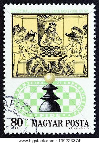 HUNGARY - CIRCA 1974: A stamp printed in Hungary from the