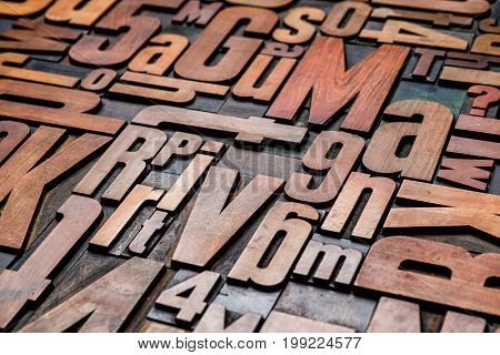 Old grungy letterpress wood type printing blocks