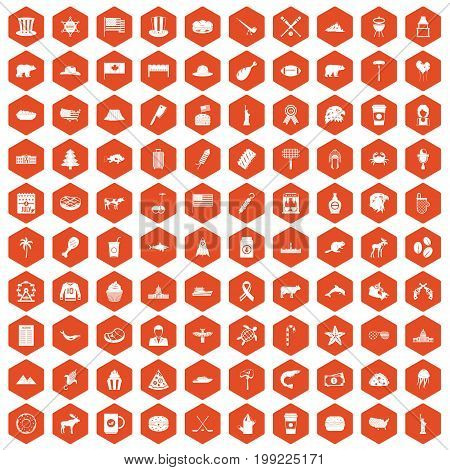 100 North America icons set in orange hexagon isolated vector illustration