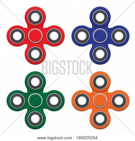 Set of Spinner. New popular anti-stress toy. Vector Illustration. EPS10