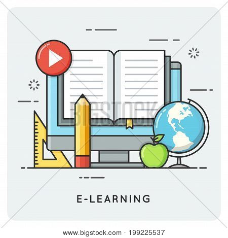 E-learning, online education. Flat line art style concept. Vector illustration.