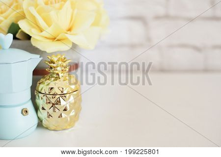 Brick Wall Product Display. Yellow Roses Mock Up. Styled Stock Photography. Blue Coffee Maker, Golde