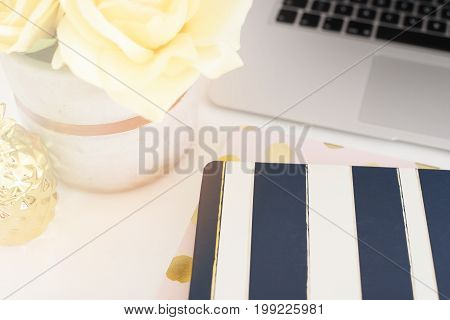 Feminine Workplace Concept. Freelance Fashion Comfortable Femininity Workspace With Flowers, Stripe
