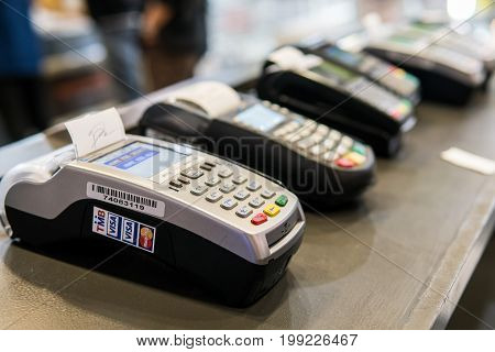 Mega Bangna Shopping Center, Bangkok, Thailand - August 5, 2017: Many Credit card machines placed in the store. These machines are customers required loan products in the mall.