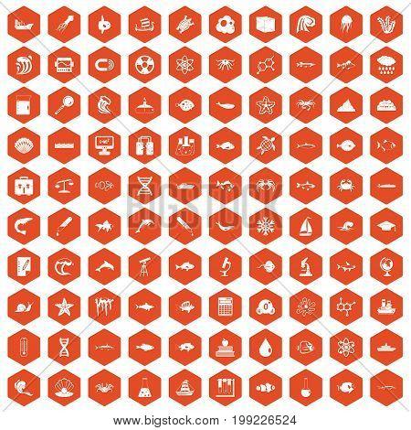 100 oceanology icons set in orange hexagon isolated vector illustration