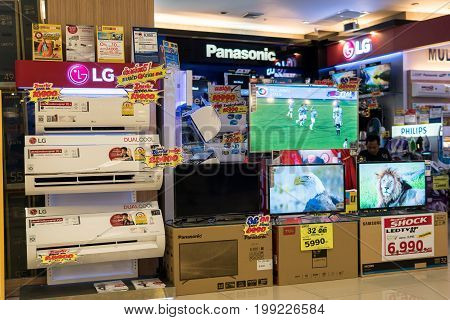 Mega Bangna Shopping Center, Bangkok, Thailand - August 5, 2017: The electronics store, there are electrical appliances brand name of many brands.
