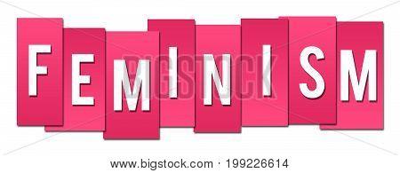 Feminism text alphabets written over pink background.