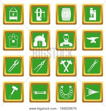 Blacksmith icons set in green color isolated vector illustration for web and any design