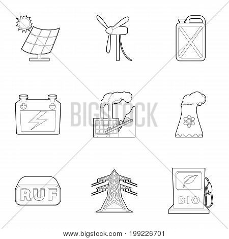 Energy industry icons set. Outline set of 9 energy industry vector icons for web isolated on white background