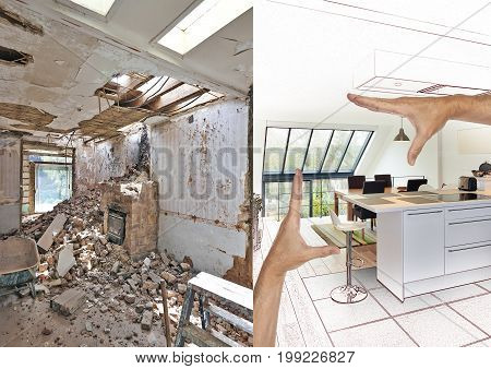 Drawing And Planned Modern Open Kitchen In Renovated House
