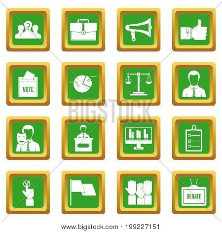 Election voting icons set in green color isolated vector illustration for web and any design