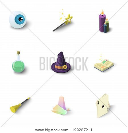 Wizard things icons set. Isometric set of 9 wizard things vector icons for web isolated on white background
