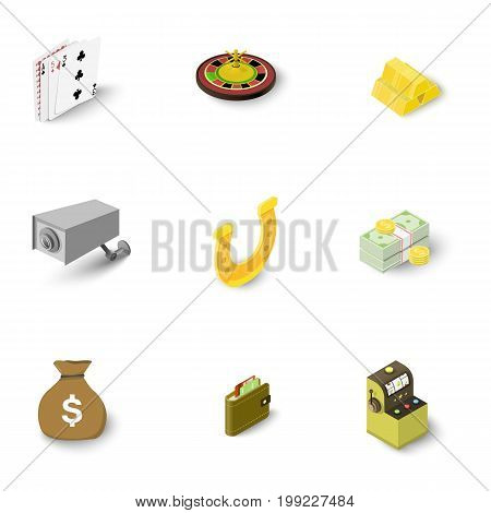 Gambling icons set. Isometric set of 9 gambling vector icons for web isolated on white background