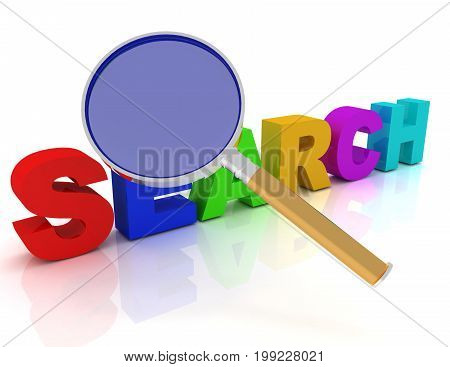 The Search Text Under A Magnifier Lens . 3D Rendered Illustration