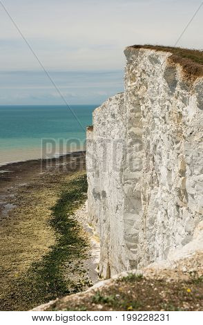 White chalk cliffs near to Beachy Head at Eastbourne East Sussex England.