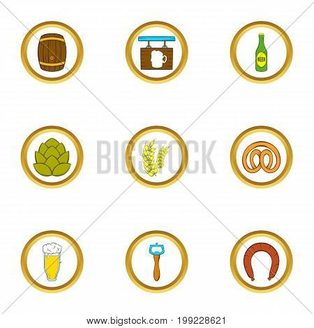 Beer shop icons set. Cartoon set of 9 beer shop vector icons for web isolated on white background