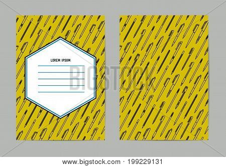 Stationery collection. Writing tools. Pens and Pencils pattern. Outline style. Pencil and pens thin line vector icons with diferent classic design. Back to school. Writing materials. Vector illustration Stationery collection. Collection of vector template