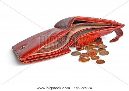 Empty Leather Wallet With A Small Change