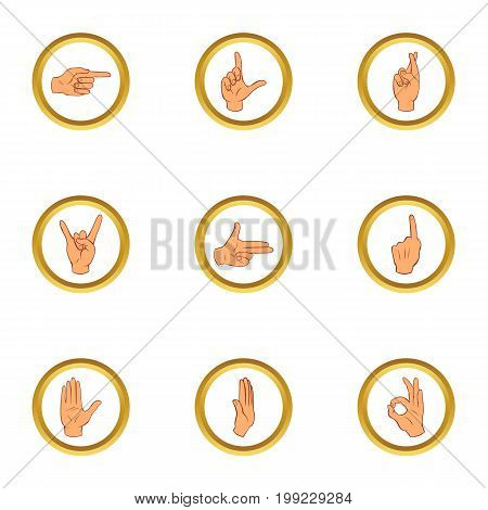 Gesturing icons set. Cartoon set of 9 gesturing vector icons for web isolated on white background