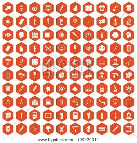 100 paint icons set in orange hexagon isolated vector illustration
