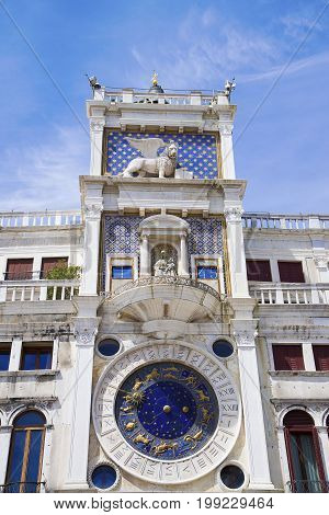St Mark's Clock Tower - Piazza San Marco in Venice. Venice Veneto Italy