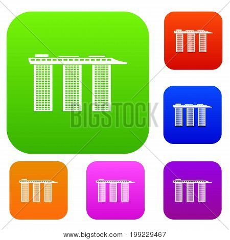 Marina Bay Sands Hotel, Singapore set icon in different colors isolated vector illustration. Premium collection