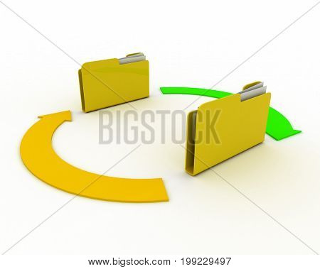 folder concept with arrow . 3d rendered illustration