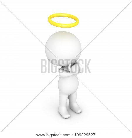 3D illustration of saint or angel praying. Image relating to spiritual belief.