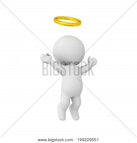 3D Character with golden halo ascending to heaven. Image depicting the afterlife.