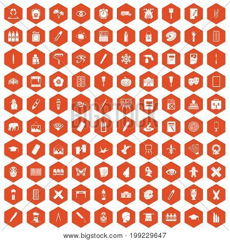 100 paint school icons set in orange hexagon isolated vector illustration