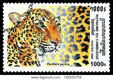 STAVROPOL RUSSIA - August 04 2017 : A Postage Stamp Printed in the Cambodia shows Panther leopard (Pantera pardus) series circa 1998
