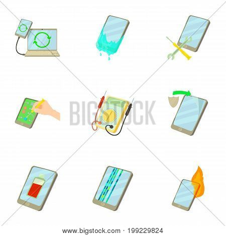 Fixing phone icons set. Cartoon set of 9 fixing phone vector icons for web isolated on white background