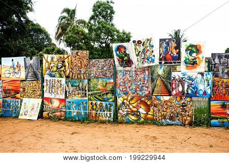 Colorful artwork for sale at Feima Market, Maputo, Mozambique, Africa , FEB 2017