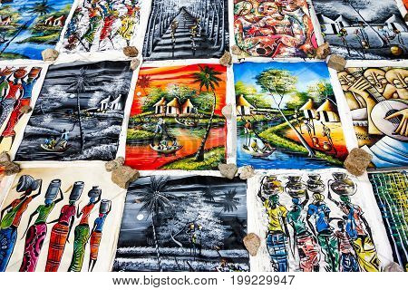 Colorful african artwork for sale at Feima Market, Maputo, Mozambique, Africa , FEB 2017