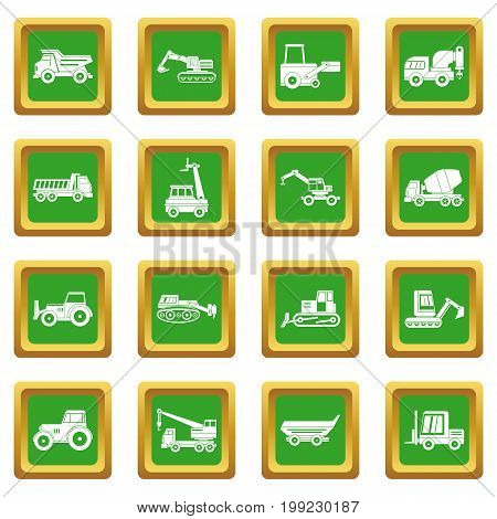 Building vehicles icons set in green color isolated vector illustration for web and any design