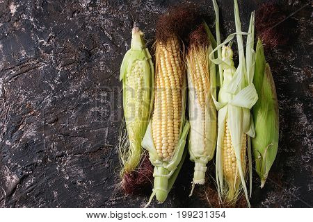 Young raw uncooked corn cobs in leaves. Top view over dark brown concrete texture background. Copy space